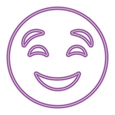 cute purple smile emoticon happy close eyes vector illustration purple neon image