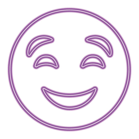 cute purple smile emoticon happy close eyes vector illustration purple neon image