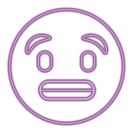 cute purple smile emoticon toothy smile vector illustration purple neon image