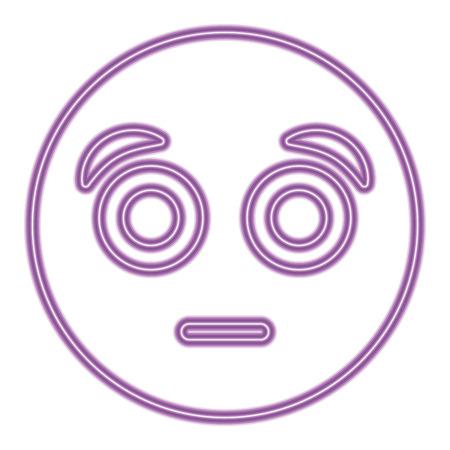 purple emoticon cartoon face surprised vector illustration purple neon image