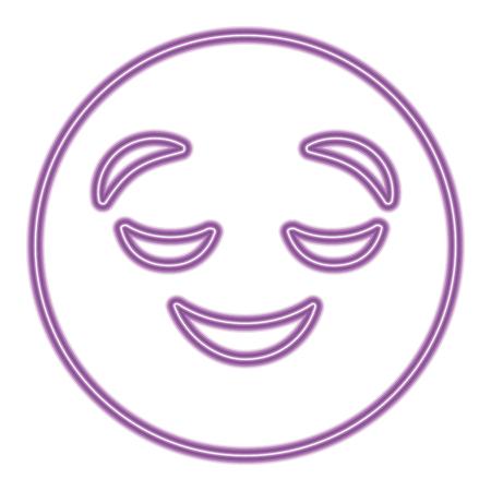 purple emoticon cartoon face grinning closed eyes vector illustration purple neon image Standard-Bild - 96337448