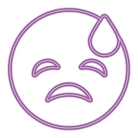purple emoticon cartoon face depressive tear vector illustration purple neon image