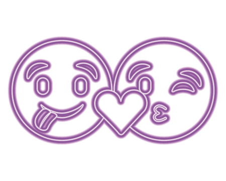 purple emoticons faces tongue out and kiss vector illustration purple neon image