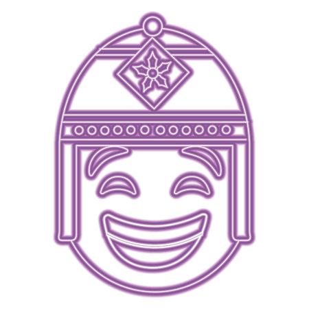 purple emoticon cartoon face with exotic hat vector illustration purple neon image Ilustrace