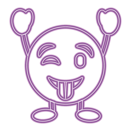 purple emoticon cartoon face tongue out character vector illustration purple neon image