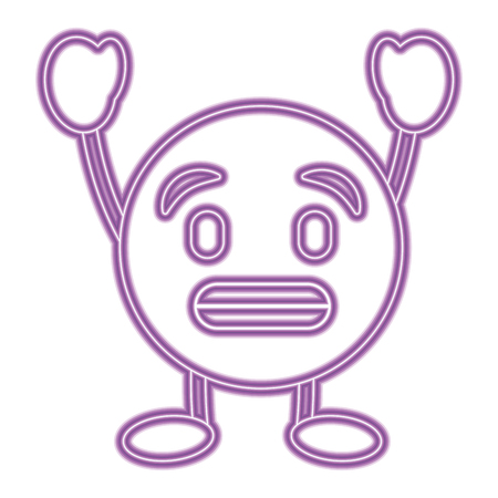 Purple emoticon cartoon face toothy smile character vector illustration purple neon image.