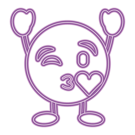 Purple emoticon cartoon face blowing a kiss love character vector illustration purple neon image.