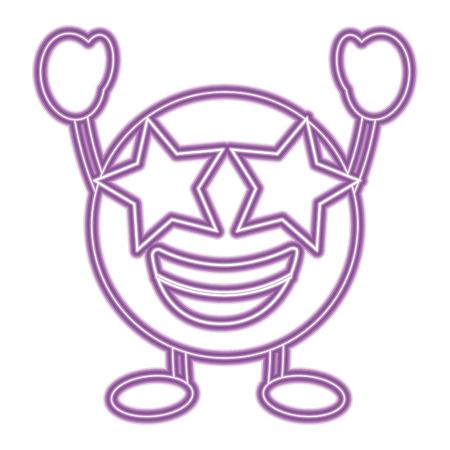 Purple emoticon cartoon face happy star eyes character vector illustration purple neon image.