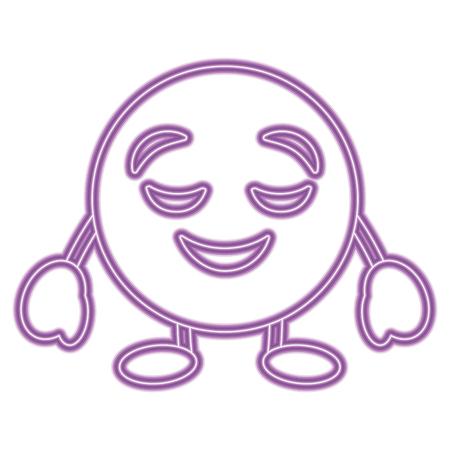 Purple emoticon cartoon face grinning closed eyes character vector illustration purple neon image. Archivio Fotografico - 96335491