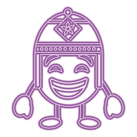 Purple emoticon cartoon face with exotic hat character vector illustration purple neon image.