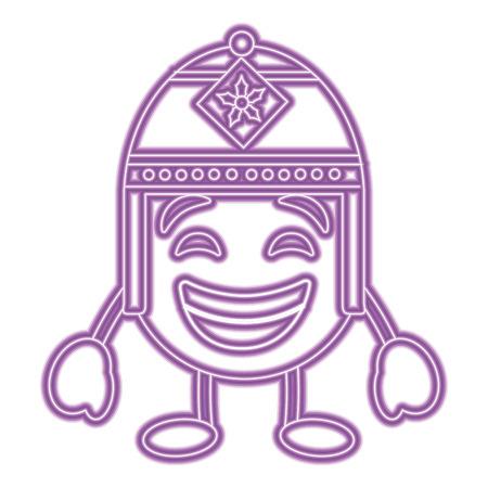 Purpurroter Emoticon Cartoon Gesicht mit exotischen Hut Charakter Vektor Farbe lila Bild Standard-Bild - 96335495