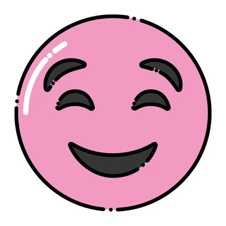 Cute purple smile emoticon happy close eyes vector illustration.