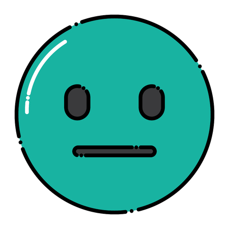 green emoticon cartoon face speechless vector illustration Illustration
