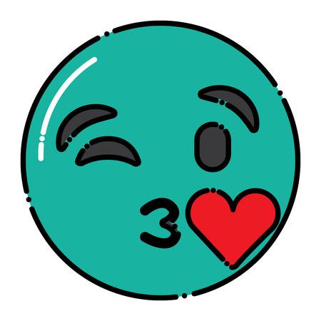 green emoticon cartoon face blowing a kiss love vector illustration Ilustração