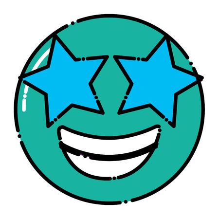 green emoticon cartoon face happy star eyes vector illustration