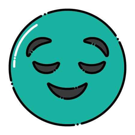Grüner Emoticon Cartoon Gesicht gesichtslosen geschlossenen Augen Vektor-Illustration Standard-Bild - 96335613