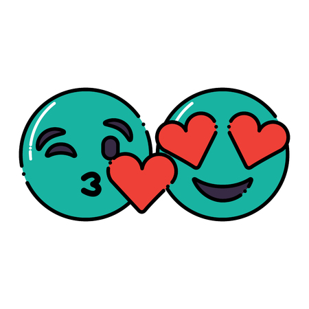 green faces in love heart eyes and kiss vector illustration Illustration