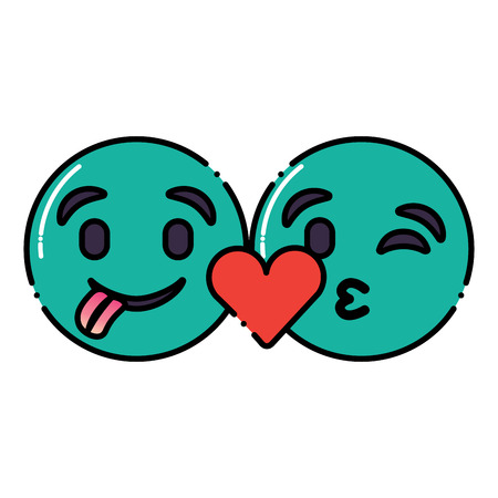 green emoticons faces tongue out and kiss vector illustration