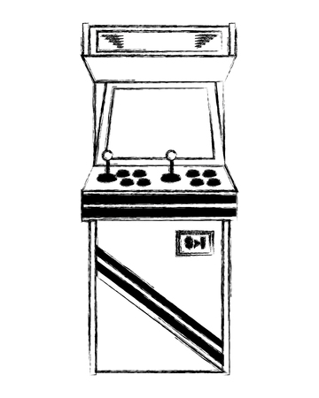 Vintage arcade game machine with joysticks and buttons vector illustration sketch design.