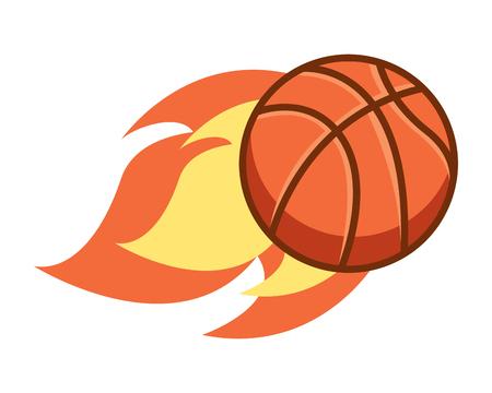 flying ball basketball on fire sport vector illustration