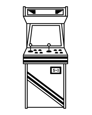 vintage arcade game machine with joysticks and buttons vector illustration outline design