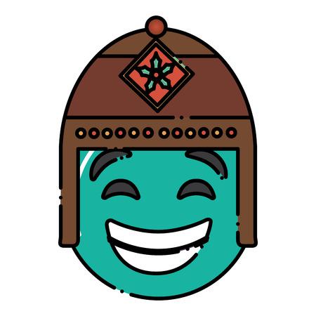 エキゾチックな帽子ベクトルイラストと緑の顔文字漫画の顔