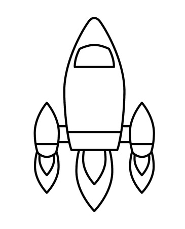video game retro rocket launch style vector illustration outline design Ilustrace