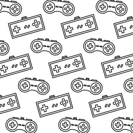 ビデオゲームコントローラの背景デバイスレトロなパターンベクトルイラストアウトラインデザイン