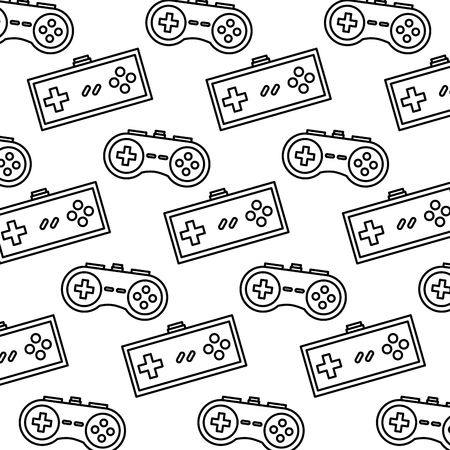 A video game controller background devices retro pattern vector illustration outline design