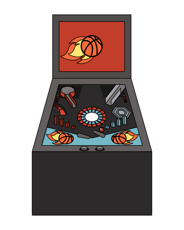 retro arcade screen pinball game machine vector illustration