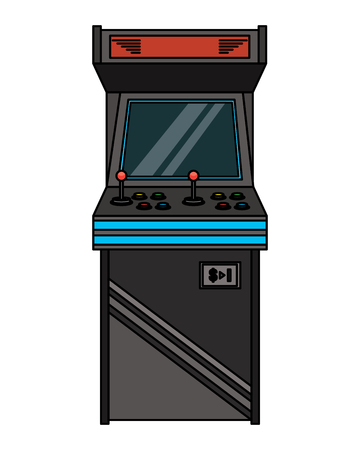 vintage arcade game machine with joysticks and buttons vector illustration