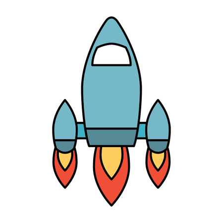 video game retro rocket launch style vector illustration
