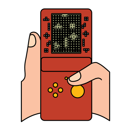gamer hand holding console with tetris game on screen vector illustration