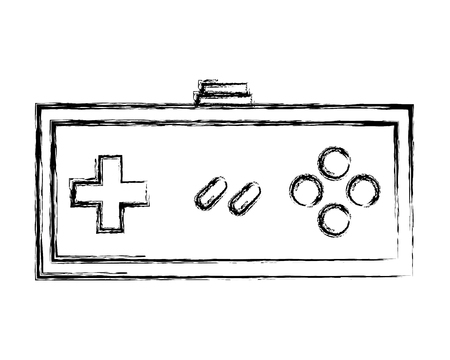 video game controller retro push button vector illustration sketch design