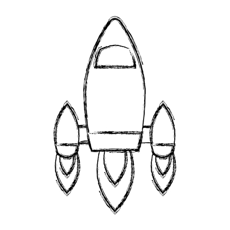 video game retro rocket launch style vector illustration sketch design