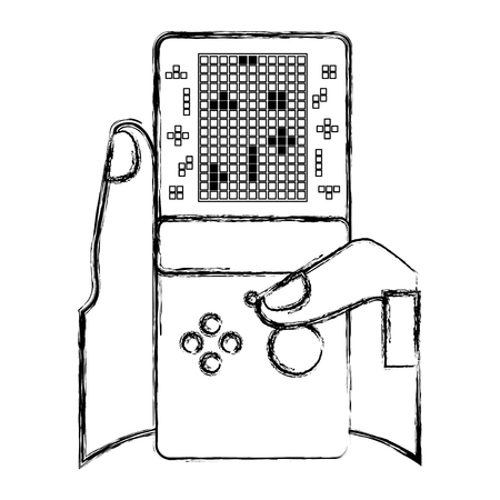 gamer hand holding console with tetris game on screen vector illustration sketch design