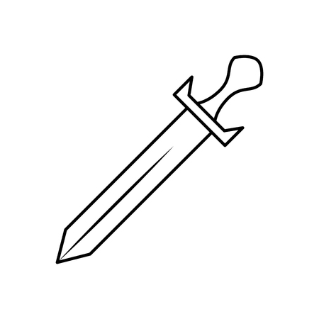 sword weapon battle handle vintage vector illustration outline design