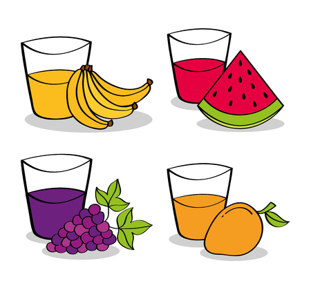 collection fruits and juices of grapes, watermelon, bananas, and mango vector illustration Illustration
