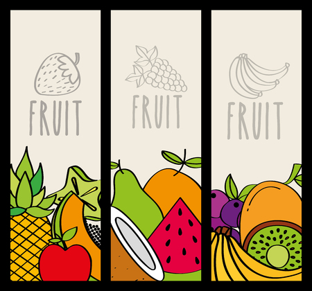fresh and natural food nutrition fruit vertical banners vector illustration