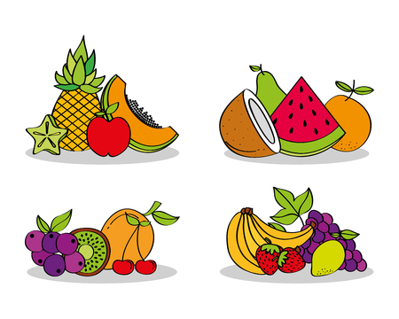 set of fresh nutrition fruits vector illustration Stock Vector - 96695440