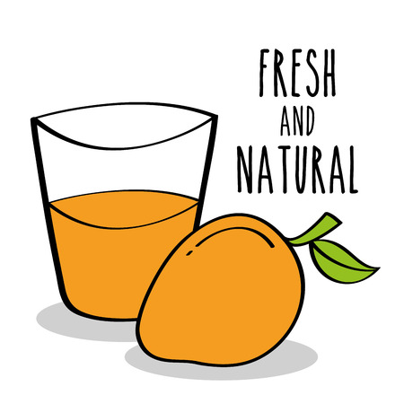 fresh and natural mango fruit and juice vector illustration