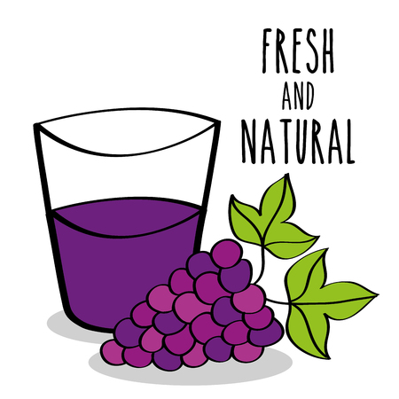 fresh and natural fruit grapes and juice vector illustration Foto de archivo - 96695439