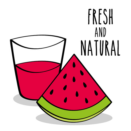 fresh and natural watermelon fruit and juice vector illustration