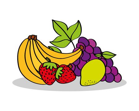 banana strawberry lemon grapes fruits food vector illustration Stock Vector - 96337810