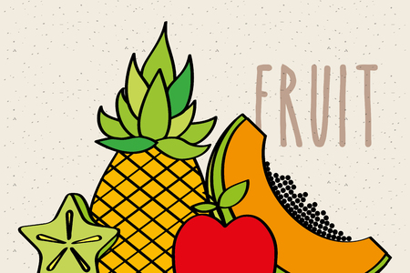 pineapple papaya apple and carambola slice fruit natural banner vector illustration