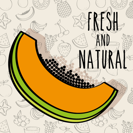 fresh and natural papaya delicious fruit vector illustration
