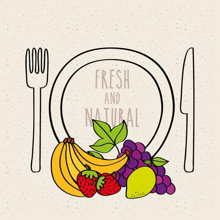 plate, fork and knife with banana, strawberry, grape, lemon vector illustration Çizim