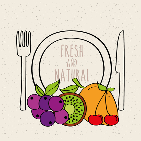 plate, fork and knife with kiwi, grapes, mango, carambola vector illustration Stock Vector - 96695444