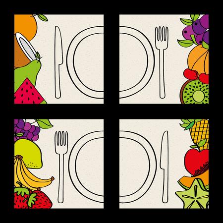 set of fruits plate and fork knife food natural vector illustration