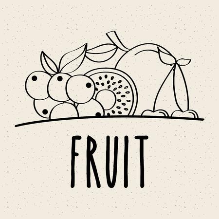 fruit fresh natural food nutrition healthy doodle design vector illustration